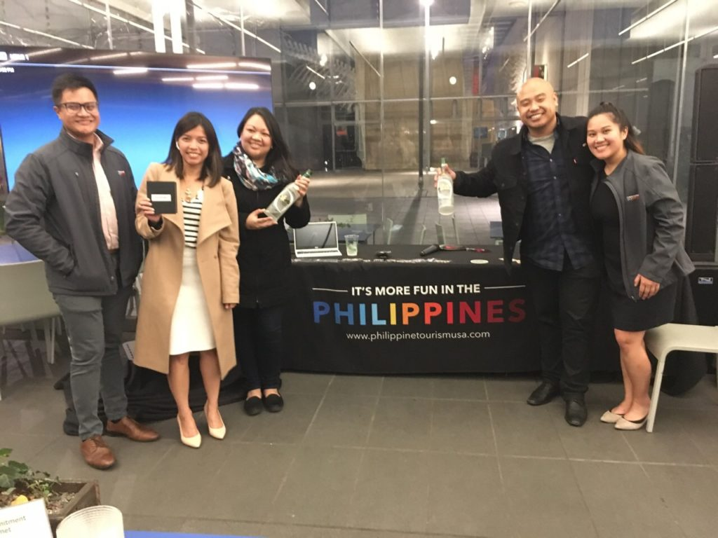 <photo> PDOT-San Francisco Team Alessa Lopez, Nadine Tanjuakio and Renz Katigbak with Infanta Lambanog CEO Randy Ramiro and Joanne Boston from Filipino Food Movement at the California Academy of Sciences Nightlife Event on February 22, 2018.
