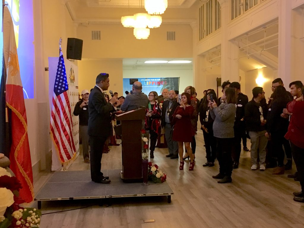 <photo> Consul General Henry Bensurto Jr. expressing welcome remarks to Filipino American Leaders during the NaFFAA 2018 Leadership Summit at the Philippine Center Building in San Francisco on January 26, 2018.