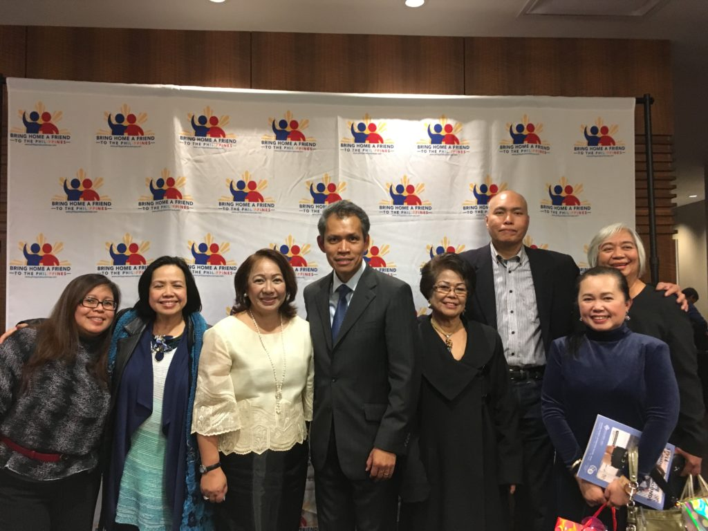 <photo> Consul General Neil Frank R. Ferrer (center), Tourism Attache Purificacion Suanding-Molintas with event attendees at the BHAF Program Launch in Vancouver, Canada on November 4, 2017