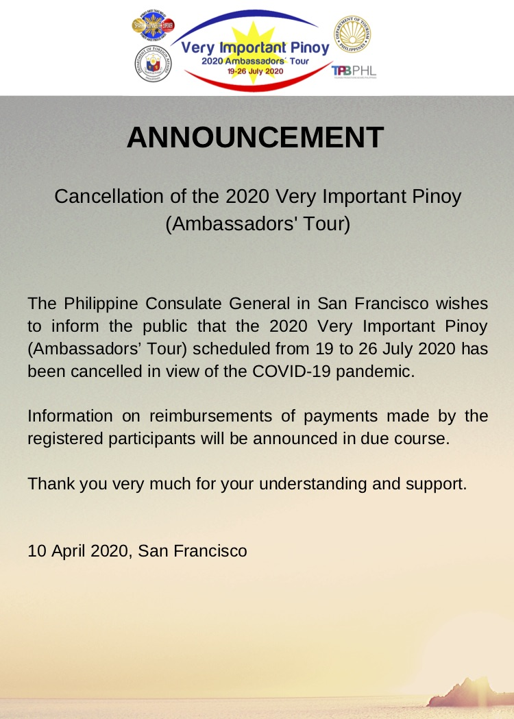 Cancellation of the 2020 Very Important Pinoy (Ambassadors' Tour)
